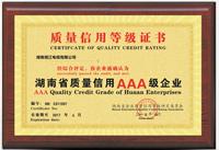 质量AAA级牌匾